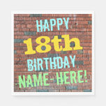 [ Thumbnail: Brick Wall Graffiti Inspired 18th Birthday + Name Paper Napkin ]
