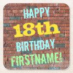[ Thumbnail: Brick Wall Graffiti Inspired 18th Birthday + Name Paper Coaster ]
