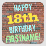 [ Thumbnail: Brick Wall Graffiti Inspired 18th Birthday + Name Sticker ]
