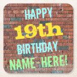 [ Thumbnail: Brick Wall Graffiti Inspired 19th Birthday + Name Paper Coaster ]