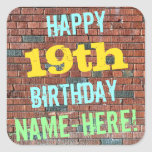 [ Thumbnail: Brick Wall Graffiti Inspired 19th Birthday + Name Sticker ]