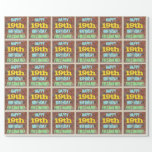 [ Thumbnail: Brick Wall Graffiti Inspired 19th Birthday + Name Wrapping Paper ]