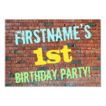 [ Thumbnail: Brick Wall Graffiti Inspired 1st Birthday + Name Invitation ]