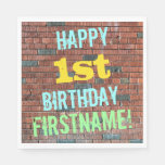 [ Thumbnail: Brick Wall Graffiti Inspired 1st Birthday + Name Paper Napkin ]