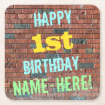 [ Thumbnail: Brick Wall Graffiti Inspired 1st Birthday + Name Paper Coaster ]