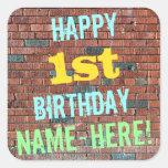 [ Thumbnail: Brick Wall Graffiti Inspired 1st Birthday + Name Sticker ]