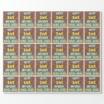[ Thumbnail: Brick Wall Graffiti Inspired 1st Birthday + Name Wrapping Paper ]