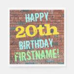 [ Thumbnail: Brick Wall Graffiti Inspired 20th Birthday + Name Paper Napkin ]