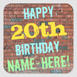 [ Thumbnail: Brick Wall Graffiti Inspired 20th Birthday + Name Sticker ]