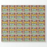[ Thumbnail: Brick Wall Graffiti Inspired 20th Birthday + Name Wrapping Paper ]