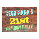 [ Thumbnail: Brick Wall Graffiti Inspired 21st Birthday + Name Invitation ]