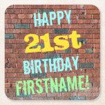 [ Thumbnail: Brick Wall Graffiti Inspired 21st Birthday + Name Paper Coaster ]