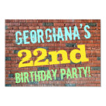 [ Thumbnail: Brick Wall Graffiti Inspired 22nd Birthday + Name Invitation ]