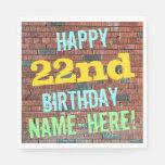 [ Thumbnail: Brick Wall Graffiti Inspired 22nd Birthday + Name Napkin ]