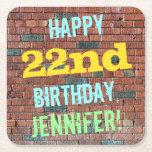 [ Thumbnail: Brick Wall Graffiti Inspired 22nd Birthday + Name Paper Coaster ]