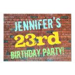 [ Thumbnail: Brick Wall Graffiti Inspired 23rd Birthday + Name Invitation ]