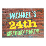 [ Thumbnail: Brick Wall Graffiti Inspired 24th Birthday + Name Invitation ]