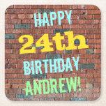 [ Thumbnail: Brick Wall Graffiti Inspired 24th Birthday + Name Paper Coaster ]