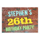 [ Thumbnail: Brick Wall Graffiti Inspired 26th Birthday + Name Invitation ]