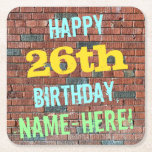 [ Thumbnail: Brick Wall Graffiti Inspired 26th Birthday + Name Paper Coaster ]