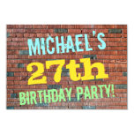 [ Thumbnail: Brick Wall Graffiti Inspired 27th Birthday + Name Invitation ]