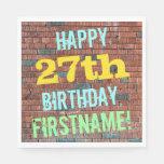 [ Thumbnail: Brick Wall Graffiti Inspired 27th Birthday + Name Napkin ]