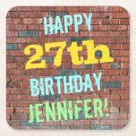 [ Thumbnail: Brick Wall Graffiti Inspired 27th Birthday + Name Paper Coaster ]