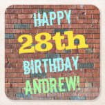 [ Thumbnail: Brick Wall Graffiti Inspired 28th Birthday + Name Paper Coaster ]