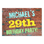 [ Thumbnail: Brick Wall Graffiti Inspired 29th Birthday + Name Invitation ]