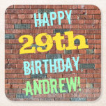 [ Thumbnail: Brick Wall Graffiti Inspired 29th Birthday + Name Paper Coaster ]