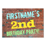 [ Thumbnail: Brick Wall Graffiti Inspired 2nd Birthday + Name Invitation ]