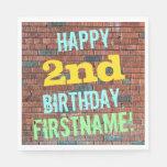 [ Thumbnail: Brick Wall Graffiti Inspired 2nd Birthday + Name Paper Napkin ]