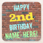 [ Thumbnail: Brick Wall Graffiti Inspired 2nd Birthday + Name Paper Coaster ]