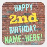 [ Thumbnail: Brick Wall Graffiti Inspired 2nd Birthday + Name Sticker ]