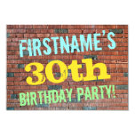 [ Thumbnail: Brick Wall Graffiti Inspired 30th Birthday + Name Invitation ]