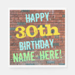 [ Thumbnail: Brick Wall Graffiti Inspired 30th Birthday + Name Paper Napkin ]