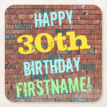 [ Thumbnail: Brick Wall Graffiti Inspired 30th Birthday + Name Paper Coaster ]