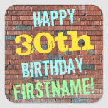 [ Thumbnail: Brick Wall Graffiti Inspired 30th Birthday + Name Sticker ]
