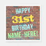 [ Thumbnail: Brick Wall Graffiti Inspired 31st Birthday + Name Napkin ]
