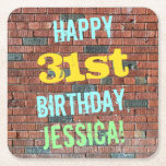 [ Thumbnail: Brick Wall Graffiti Inspired 31st Birthday + Name Paper Coaster ]