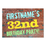 [ Thumbnail: Brick Wall Graffiti Inspired 32nd Birthday + Name Invitation ]