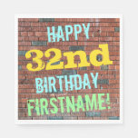[ Thumbnail: Brick Wall Graffiti Inspired 32nd Birthday + Name Napkin ]