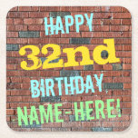 [ Thumbnail: Brick Wall Graffiti Inspired 32nd Birthday + Name Paper Coaster ]