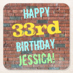 [ Thumbnail: Brick Wall Graffiti Inspired 33rd Birthday + Name Paper Coaster ]