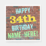 [ Thumbnail: Brick Wall Graffiti Inspired 34th Birthday + Name Napkin ]