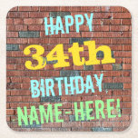 [ Thumbnail: Brick Wall Graffiti Inspired 34th Birthday + Name Paper Coaster ]