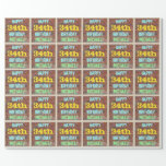 [ Thumbnail: Brick Wall Graffiti Inspired 34th Birthday + Name Wrapping Paper ]