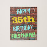 [ Thumbnail: Brick Wall Graffiti Inspired 35th Birthday + Name Jigsaw Puzzle ]