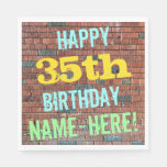 [ Thumbnail: Brick Wall Graffiti Inspired 35th Birthday + Name Paper Napkin ]