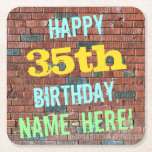 [ Thumbnail: Brick Wall Graffiti Inspired 35th Birthday + Name Paper Coaster ]